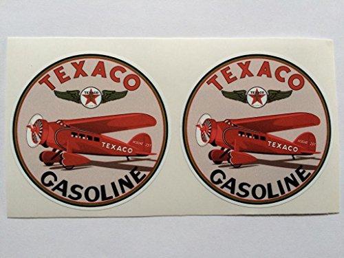 2 Texaco Aviation Gasoline Red Plane Die Cut Decals