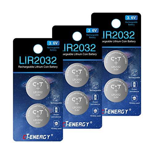 CT-ENERGY Rechargeable 2032 Button Batteries,6pcs 3.6V 2032 Rechargeable Lithium-ion Coin Batteries Replace 3V Cr2032 Battery