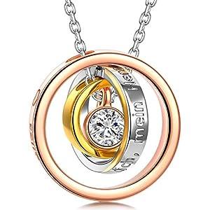 Kami Idea Kette Damen Kette Silber Geschenke für Mama Kette Rosegold Halskette Damen Personalisierte Geschenke Halskette Rosegold Mama Kette Geschenke für Ehefrau Muttertagsgeschenk