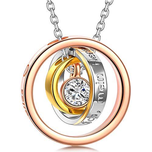 Kami Idea Halskette Kette Damen Schmuck Rosegold Ringe Anhänger Geschenk für Mutter Frau Modeschmuck Kristall von Swarovski 45CM Kettenlänge Geburtstagsgeschenk Geschenkverpackung