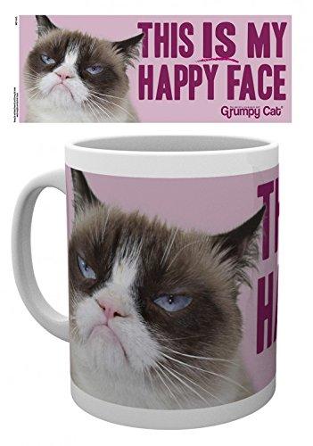 1art1 Katzen, Grumpy Cat, Happy Face Foto-Tasse Kaffeetasse (9x8 cm) Inklusive 1x Überraschungs-Sticker