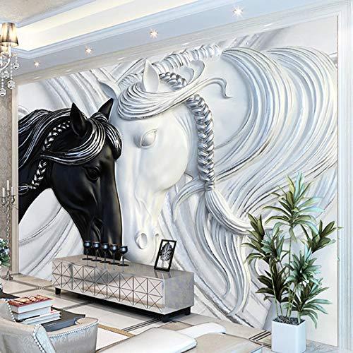 ZPDM 3D No Tejido o Vinile 15 tamaños Papel Pintado De La Pared Pelar y Pegar Mural Negro animal blanco caballo Pegatinas De Pared, Calcomanías De Vinile De Creativo Extraíble Para Baño Niños