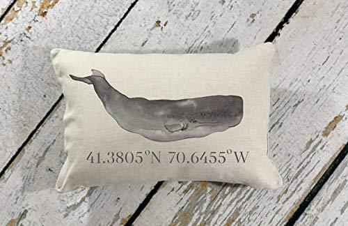 Martha's Vineyard Whale con Latitudine Longitudine GPS Location Coordinates Cuscino, New England decorativo Whale Pillow