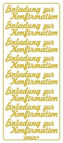 Ursus 59300083 - Kreativ Sticker, Einladung zur Konfirmation, 5 Blatt, gold