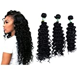 Yonis Deep Wave Hair Extensions Weft Weave Natural Black Color 3 Bundles Synthetic Human Hair Mixed Length (16' 18' 20')