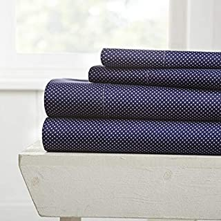 Home Collection iEnjoy Home Hotel Collection Premium Ultra Soft My Heart Pattern 4 Piece Bed Sheet Set, Queen, Navy