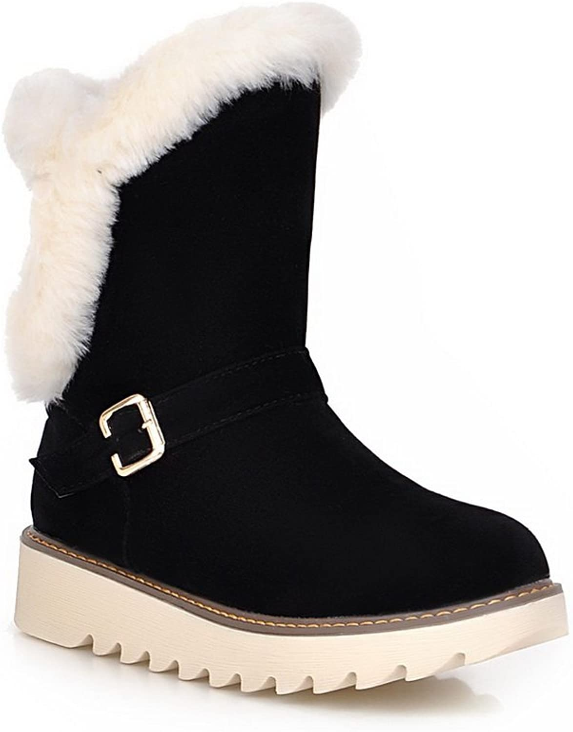 AdeeSu Ladies Platform Buckle Ornamented Round Toe Frosted Boots