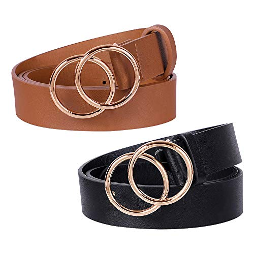 2 Pack Double Ring Buckle Belts Women Leather Waist Belts for Jeans Dresses (L)