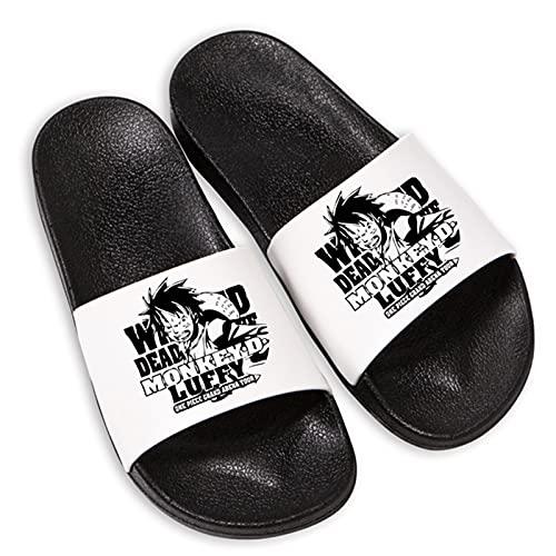 Zapatillas antideslizantes unisex para cosplay, regalo de anime para ONE PIECE Monkey D. Luffy Zapatillas con suela de espuma ultraligera para interior, exterior baño jardín y piscina,Blanco,37/38EU