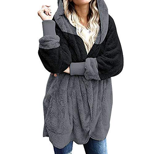 Goosuny Damen Plüschjacke Mit Kapuze Winter Jacke Cardigan Teddyjacke Fleece Kapuzenjacke Künstliche Wollmantel Mantel Outwear Strickjacke Trenchcoat Warme Outwear Taschen