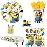 Kit Minions 8 niños completo de cumpleaños (8 platos, 8 vasos, 16 servilletas, 1 mantel + 10 velas mágicas) para niños y niñas.