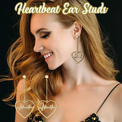 Janly Clearance Sale Women Earrings , Sweet Girl Heartbeat Earrings Pin Earrings Prevent Allergies Earrings , Valentine's Day Birthday Jewelry Gifts for Ladies Girls (Gold)