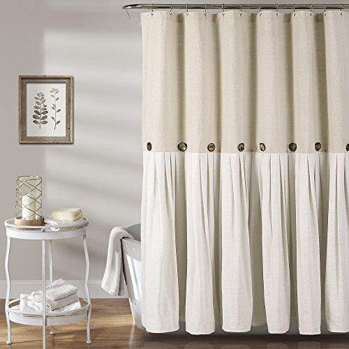 "Lush Decor Button Shower Curtain, 72"" X 72"", Linen"