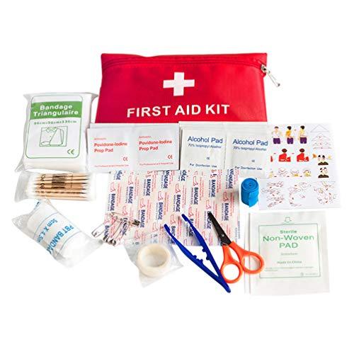 Exceart 1 Set Kit de Primeros Auxilios Kit de Emergencia Médica de Supervivencia Fundamentos Esenciales Herida Bolsa Médica Suministros de Cuidado de Hisopo de Algodón de YODO