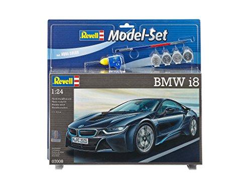 Revell Modellbausatz Auto 1:24 - BMW i8 im Maßstab 1:24, Level 4, originalgetreue Nachbildung mit vielen Details, , Model Set mit Basiszubehör, 67008