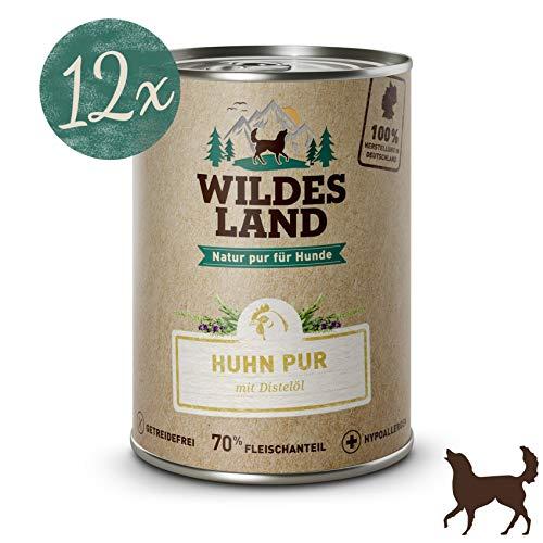 Wildes Land Hundefutter Nassfutter Huhn PUR 400g (12 x 400g)