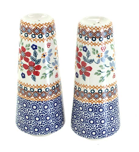Blue Rose Polish Pottery Red Daisy Salt & Pepper Shakers