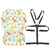Twoworld Baby High Chair Seat Cushion Liner Mat Pad Cover and High Chair Straps (5 Point Harness) 1 Suit (Animal)