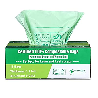Primode Compostable Bags 30-33 Gallon, Lawn Leaf Extra Large Trash Bags, 100% ASTMD6400 Certified Biodegradable Compost Bags, Certificated by US BPI and European TUV, Extra Thick 1.1 Mil