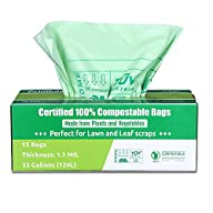 Primode Compostable Bags 30-33 Gallon, Lawn Leaf Extra Large Trash Bags, 100% ASTMD6400 Certified Biodegradable Compost Bags, Certificated by US BPI and European TUV, Extra Thick 1.1 Mil (15) in Box