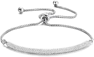 Redbarry Micro CZ 18k Gold Plated Bar Shape Adjustable Charm Bracelet for Women Girls 9.05