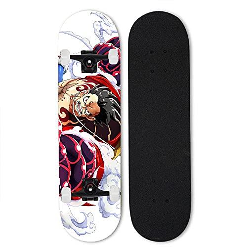 Totots Monopatín de Arce de 7 Capas para Monkey D. Luffy, Anime Double Tilt Skateboard One Piece, monopatín Completo de 31 Pulgadas, patineta Profesional de Cuatro Ruedas, monopatín Exterior