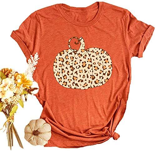 Halloween Pumpkin Shirt Women Plaid Leopard Graphic Tees Funny Cute Short Sleeve Fall Shirt Thanksgiving Gift Tops Orange