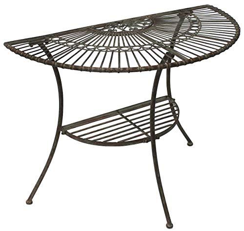 DanDiBo Tisch Halbrund Wandtisch Malega 100531 Beistelltisch aus Metall 100 cm Gartentisch Halbtisch Halbrundtisch Wandkonsole Konsole Wand