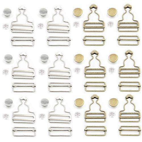 Aweisile hosenträger verschluss 12 Sätze Metallspange Schnallen Metallschnallen Latzhosenschnallen mit rechteckigen Schieberverschlüssen und Metallknöpfe, für Strapse Lätzchen Hose Hosenträger 38mm