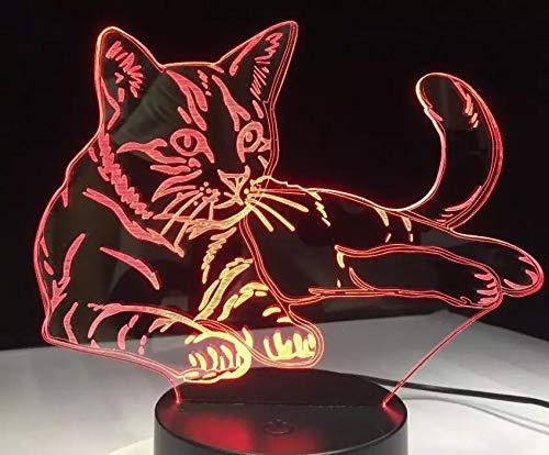 Creative Line Cat LED Nachtlicht Mehrfarbiges Acryl 3D Tischlampe Acryl USB Dekoration Geschenk