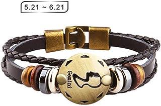 Axgo Retro 12 Zodiac Constellation Alloy Leather Hand Woven Braided Rope Bracelet Punk Chain Cuff, Gemini