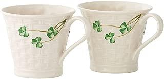 Belleek Shamrock Set of Two Mugs, 8 oz each