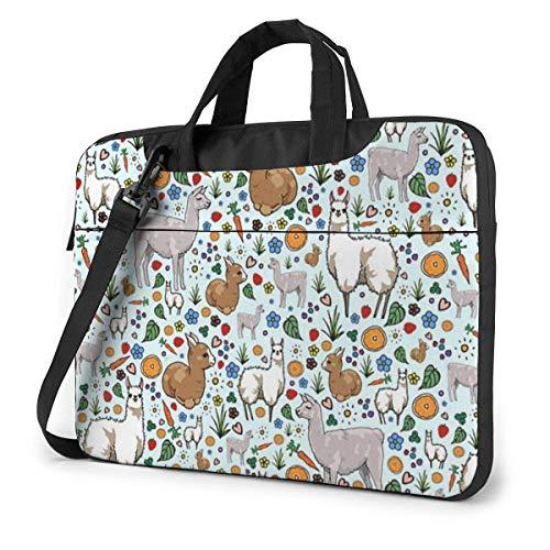 Llama Alpaca Kawaii Animal Laptop Shoulder Bag 15.6 Inch Laptop Messenger Case Laptop Sleeve Carrying Case with Strap