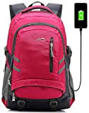 Backpack Bookbag for School College Student Sturdy Travel Business Laptop Compartment with USB Charging Port Luggage Chest Straps Night Light Reflective (Pink)