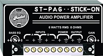 RDL ST PA6 Audio Power Amplifier 6 Watts RMS with Balanced Audio Inputs Loudness Equalization - Power Supply Included