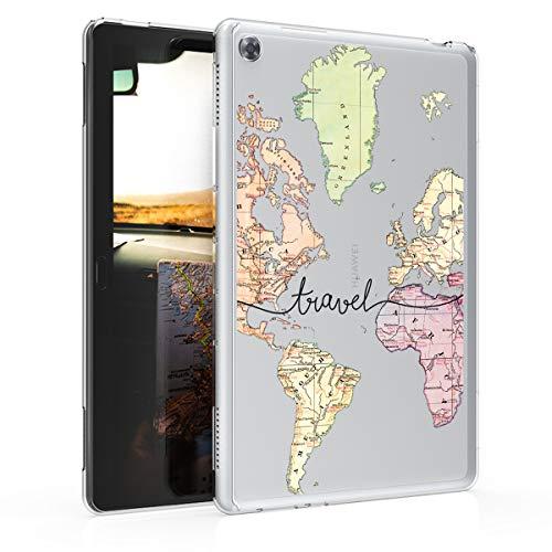 kwmobile Cover Compatibile con Huawei MediaPad M5 Lite 10 - Custodia Cover Tablet in Silicone TPU - Copertina Protettiva Tab - Backcover - Mappa del Mondo Nero Multicolore Trasparente