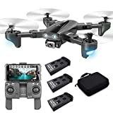 SP600 Foldable GPS FPV Drone with 4K Camera Live Video for Beginners, RC Quadcopter with GPS Return Home, Follow Me, Gesture Control, Circle Fly, Drone for Adult with 3 Batteries