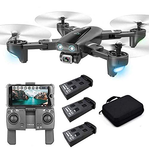 S167 Foldable GPS FPV Drone with 4K Camera Live Video for Beginners, RC Quadcopter with GPS Return Home, Follow Me, Gesture Control, Circle Fly, Drone for Adult with 3 Batteries