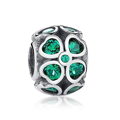 Abalorios de trébol, color verde, de plata de ley 925 con circonia cúbica , compatible con pulseras europeas