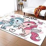 Alfombra de Animales de Dibujos Animados de Unicornio nórdico 3D para habitación de niños, Mesa de Centro para Dormitorio, Alfombra Decorativa para Sala de Estar, 150x200cm N-8