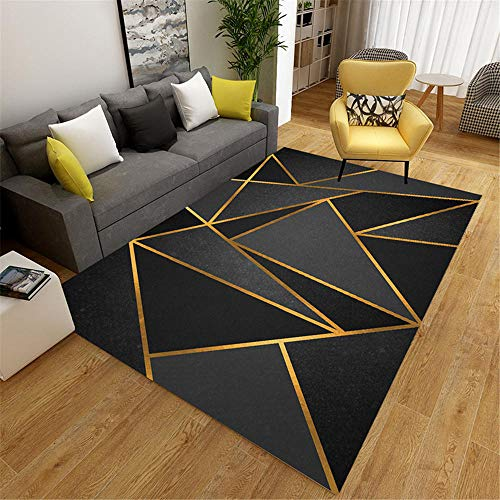 Kunsen Alfombras Naturales Negro Alfombra de Sala de Estar triángulo Negro patrón clásico Alfombra de salón antiácaros Alfombra Niños El 130X190CM Alfombra Cuarto 4ft 3.2''X6ft 2.8''