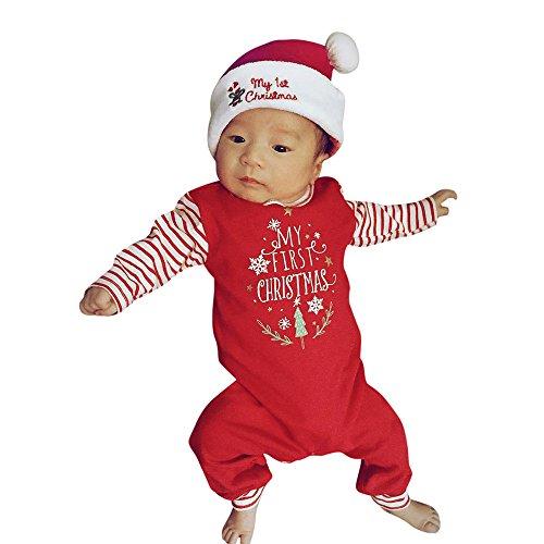 Natale Bambino Costume Babbo, Pigiama Bambini Pagliaccetto Neonato Pigiami Body Neonati Tute Bimbo Tuta Bimba Tutine Camicie da Notte Abbigliamento Natalizio Christmas/Natale Rosso, 3-6 Mesi