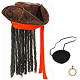 Mamvio Pirate Hat - Tricorn Hat with Dreadlocks - Caribbean Costume and Accessories - Includes Eye Patch and Earring