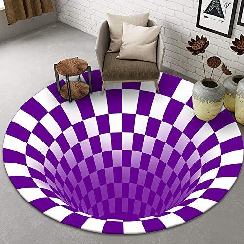 NOBCE Tappetino da Clown Rotondo Trappola Tappeto visivo Soggiorno Camera da Letto Tavolino Tappetino 3D Geometrico Stereo Illusion Tappeto 160X160CM
