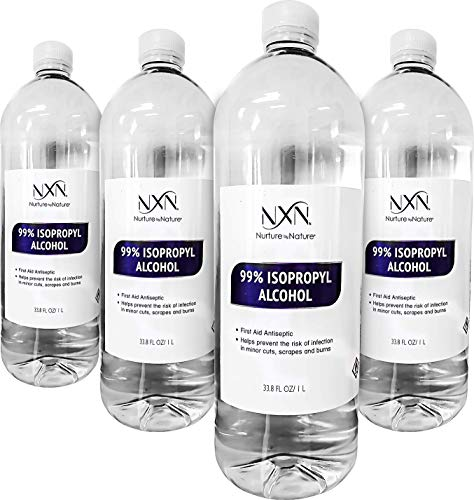 99.8% Pure Isopropyl Alcohol - Highest Purity & Quality - 1 Liter Bottles - Pack of 4 (135.2 FL Oz - 4,000mL Total)…