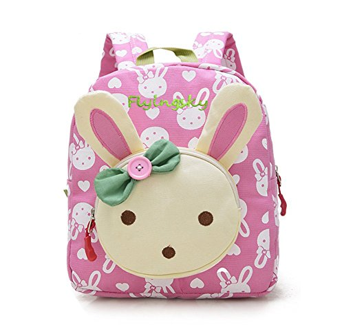 Flyingsky Rabbit Animals Kids Book Backpack Baby Girls School Bag Pink