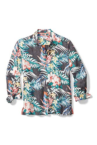 Tommy Bahama Garden Paradise Tropical Print Linen Regular Fit Shirt, Onyx (X-Large)