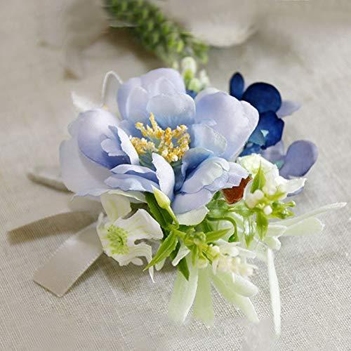 TSP Pulsera de muñeca para dama de honor con flores y flores para hombre, para boda, para novia, ramillete de tela, color azul, para boda, accesorio de boda (color: ramillete A)