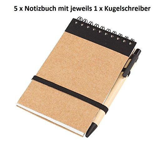Notitieboek 5-delige set recycle schrijfboek met elk 1 x balpen en houder aan notitieringboek met elastiek notitieboekje