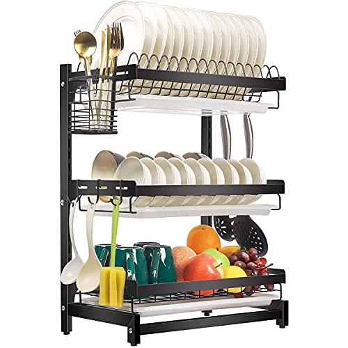 Estante del organizador de la cocina de acero inoxidable con soporte de cuchillo, estante de cocina ajustable de acero inoxidable de 3 niveles grande, expansible sobre drenador de plato de fregadero